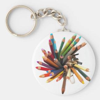 Crayons d'huile colorés par artistes porte-clé rond