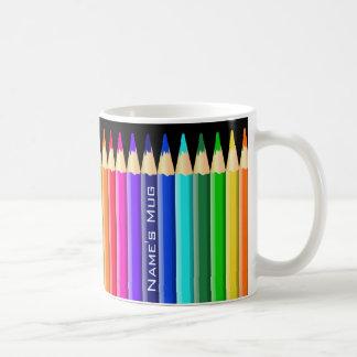 Crayons multicolores de crayon (nom facultatif) mug blanc