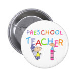 Crayons Preschool Teacher Tshirts and Gifts 2 Inch Round Button