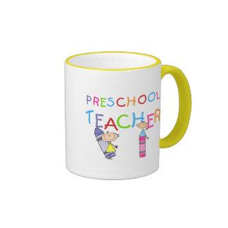 Crayons Preschool Teacher TShirts and Gifts Ringer Mug