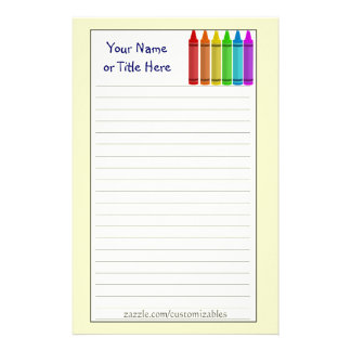 Crayons Stationary Personalized Stationery