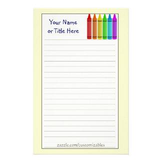 Crayons stationnaires papier à lettre personnalisable