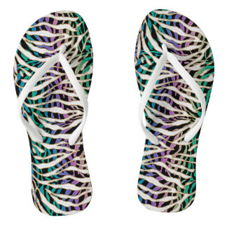 Craziest Zebra Print Exotic Animal Striped Flip Flops