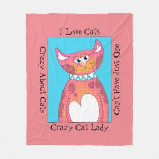 Crazy About Cats Fleece Blanket