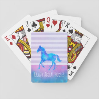 Crazy About Horses Pink and Blue Watercolor Playing Cards