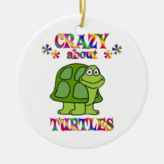 Crazy About Turtles Ceramic Ornament