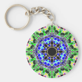Crazy Abstract Basic Round Button Keychain