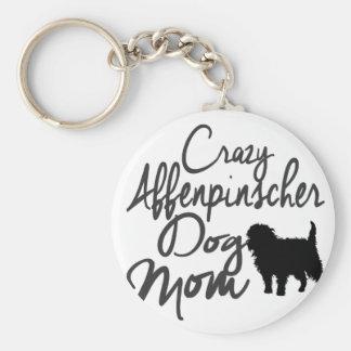Crazy Affenpinscher Dog Mom Basic Round Button Keychain
