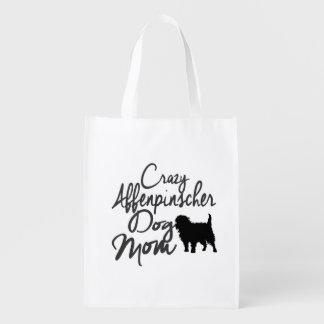 Crazy Affenpinscher Dog Mom Reusable Grocery Bag
