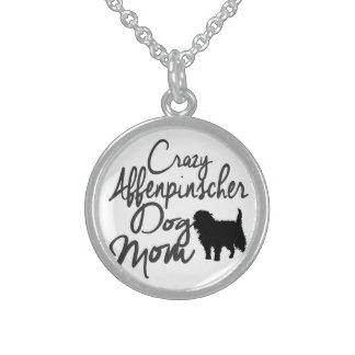 Crazy Affenpinscher Dog Mom Sterling Silver Necklace