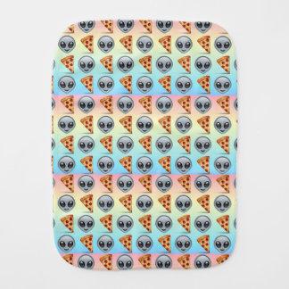 Crazy Aliens & Pizza Emoji Pattern Baby Burp Cloths
