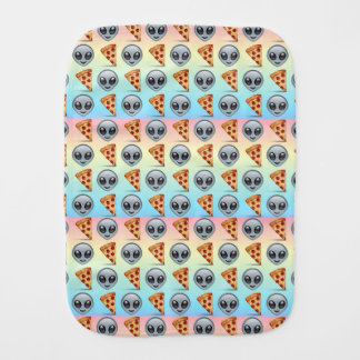 Crazy Aliens & Pizza Emoji Pattern Burp Cloth