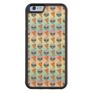 Crazy Aliens & Pizza Emoji Pattern Carved Maple iPhone 6 Bumper Case