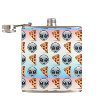 Crazy Aliens & Pizza Emoji Pattern Hip Flask