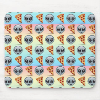 Crazy Aliens & Pizza Emoji Pattern Mouse Pad