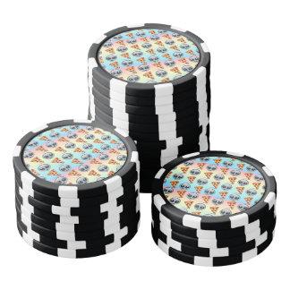 Crazy Aliens & Pizza Emoji Pattern Poker Chips
