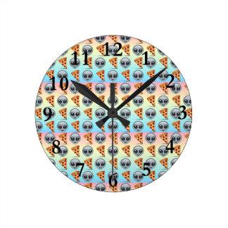 Crazy Aliens & Pizza Emoji Pattern Round Clock