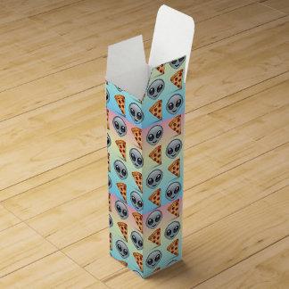 Crazy Aliens & Pizza Emoji Pattern Wine Gift Box