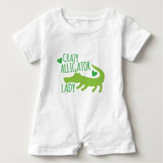crazy alligator lady baby romper