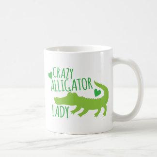 crazy alligator lady coffee mug
