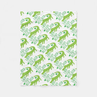 crazy alligator lady fleece blanket