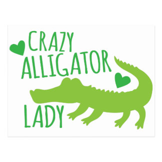 crazy alligator lady postcard
