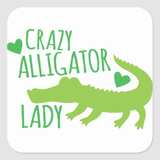 crazy alligator lady square sticker