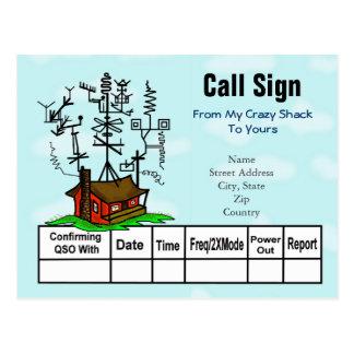 Crazy Antenna Ham Radio Shack QSL Cards Postcard