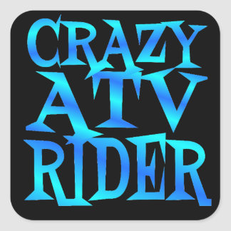 Crazy ATV Rider Square Sticker