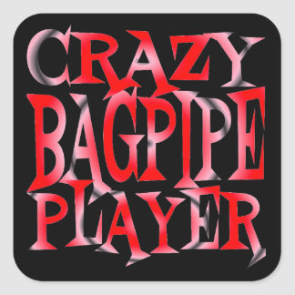 Crazy Bagpipe Player in Red Square Sticker