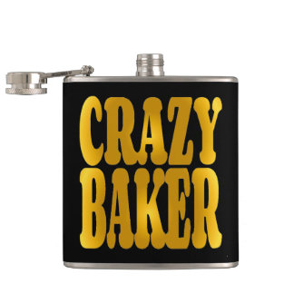Crazy Baker in Gold Hip Flask
