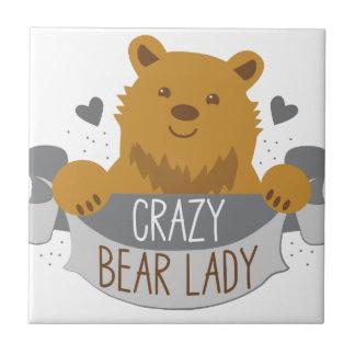 crazy bear lady banner ceramic tile