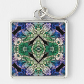 Crazy Beautiful Abstract Pattern Silver-Colored Square Keychain