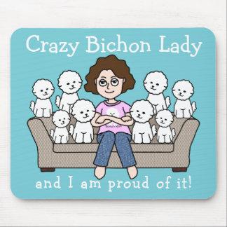Crazy Bichon Frise Lady Mousepad