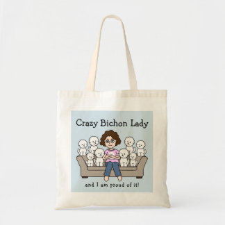 Crazy Bichon Frise Lady Tote Bag