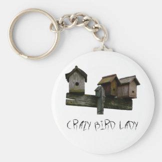 Crazy Bird Lady Basic Round Button Keychain