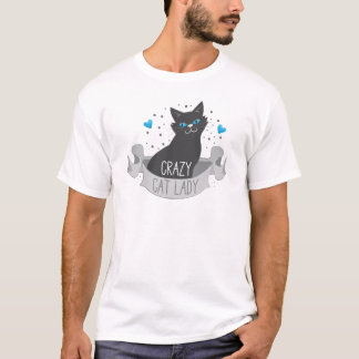 crazy black cat lady banner T-Shirt
