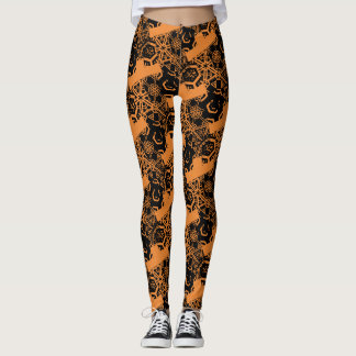 Crazy Black Pattern on Orange Leggings