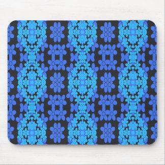 Crazy Blue Stylized Daisy Patterned Mousepad