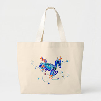 CRAZY BLUE TREE FROGS LARGE TOTE BAG