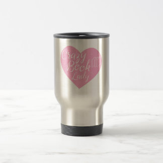 crazy book lady heart travel mug