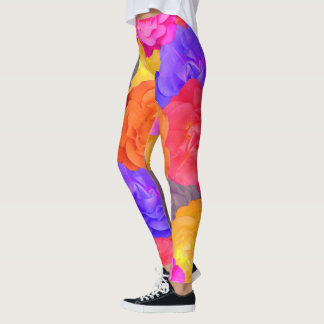 Crazy Bright Garden Roses Leggings