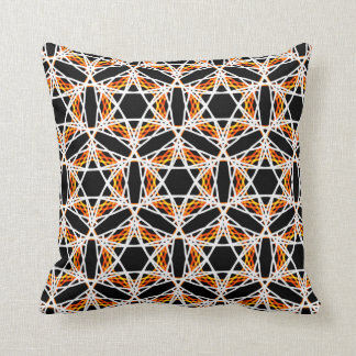 Crazy Bright Gold and Black Kaleidoscope Pattern Throw Pillow
