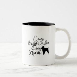 Crazy Brussels Griffon Dog Mom Two-Tone Coffee Mug