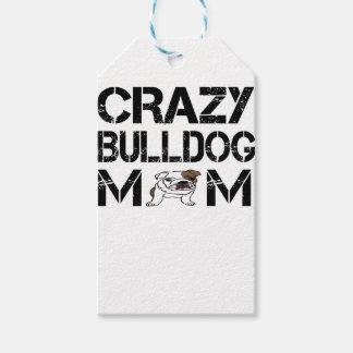 crazy bulldog mom t shirt gift tags