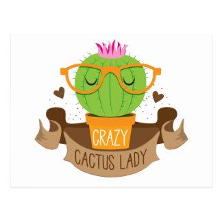crazy cactus lady banner postcard