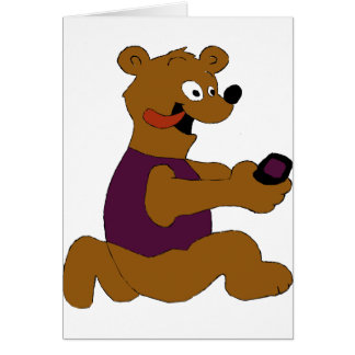 Crazy Cartoon Bear With Cell Phone Greeting Card