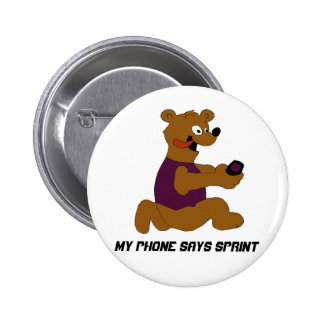 Crazy Cartoon Bear With Cell Phone Pinback Button