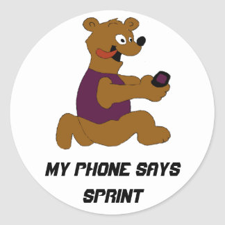 Crazy Cartoon Bear With Cell Phone Round Sticker