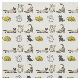 Crazy Cartoon Cats Fabric